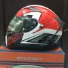Helm INK Duke Black Red White Motif Fullface Visor Antifog