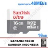 Sandisk Ultra Micro Sd 16gb 48mb/S Tanpa Adapter Uhs-I Class 10 Sdhc 1