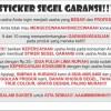 Stiker segel Garansi fullcolour non cutting (bahan pecah telur) #50lb