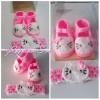 Sepatu Bayi Rajut + Headband Hello Kitty Set