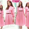 [ maxi yeona HO] pakaian wanita dress warna pink High Quality