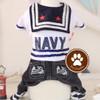 Jumpsuit Navy Baju Anjing Kucing Hewan Kelinci Jeans Jumper