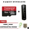 PAKET BUNDLING TRANSCEND! Micro SD 16GB + Flashdisk 16GB FREE BONUS