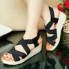 sandal wedges tali murah bagus hitam cream