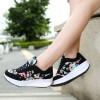 Grosir Sepatu Wanita Murah - Wedges Kets Bunga Hitam SR05