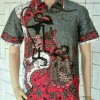 Kemeja Hem Batik Pria Wayang Susun Abu