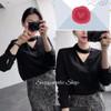 NEW Shoppaholic Shop Blouse Long Sleeve Halter - Black HGB