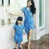 couple dress ibu anak denim pita