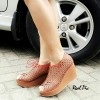 Sepatu Wanita Wedges Boot Laser Trendy Tan