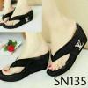 Sepatu Wanita Wedges Santai Casual Jepit Lv