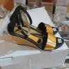 Sepatu Wanita Sendal Cantik Pesta Bagus Glossy Gold Hitam