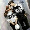 Couple Baju Blouse Black Salur Kaos