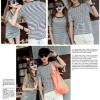 FG - [Cp T Shirt + Dress Stripe LT] baju couple rayon spandek putih SP