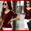 FG - [V-neck Karen Marun CL] blouse wanita combed marun