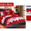 Bedcover Set Katun Motif Violet Rose, 180x200, Bed Cover Set, S236