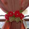 ikat Hordeng / ikat gorden Bunga ros orange tua dan krem