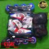 Sepatu Roda Inline + Dekker Spiderman Captain America Ban Karet Bajaj