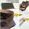 Belt LV Damier Coklat Logo Gold Mirror kode 804