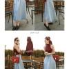 Circle Pocket Denim Flare Skirt(#6065)/Rok jeans wanita/Rok midi maxi
