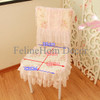 Chair cushion cover pink rose lace