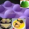 Cetakan kue puding Silicon Mould Half Ball 6 cavity