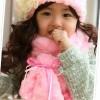 grosir winter hat + scraf thick pink