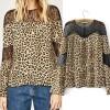 Casual Top Blouse Motif Leopard Lace-Keren-Berkualitas-Gaul 42458