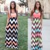 Promo Murah Dress Wanita Motif Wave Sleeveless Dress - S - Pink