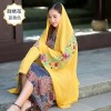Promo Murah Syal Katun Motif Bunga Scarf Embroidery - Kuning