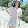 cc010 baju kaos asimetris pink biru muda berlengan stripes garis