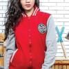 Jaket Lifestyle Kasual Wanita Fleece Merah Varsity Baseball V0J1Y