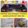 kompor gas progas 2 tungku dan regulator luxury set ber SNI