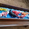 Hiasan dinding Ukiran relief ikan koi