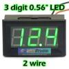 Volt Meter Digital 4.5-30V DC Dua Kabel LED Hijau 0.56'
