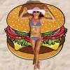 BURGER Round Beach Cover-up/ Beach Mat/ Yoga Mat