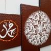lukisan minimalis kaligrafi akar coklat