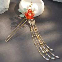 tusuk rambut sanggul oriental bunga merah aksesoris rambut thumbnail