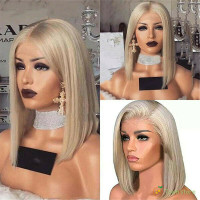 Women Short Bob Wig Front Lace Blonde Straight Artifical Hair Full Wig thumbnail
