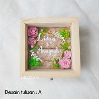 Jual Kotak cincin kayu jati belanda akrilik + print nama ...