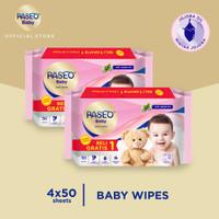 Paseo Baby Tissue Basah Jojoba 50 Sheets x 2 Pack (Buy 1 Get 1 FREE)