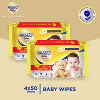 Paseo Baby Tissue Basah 50 Sheets x 2 Pack (Buy 1 Get 1 FREE)