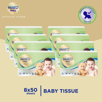 Paseo Baby Tissue Bayi Travel Pack 50 Sheets x 8 Pack