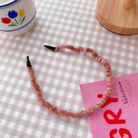 Aksesoris Rambut Bando Korea Beludru Retro Pita Wanita RB0004 - pink thumbnail