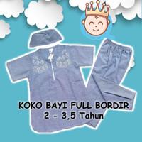 Setelan Baju Koko Anak Full Bordir, Resleting - Kufic Size Besar