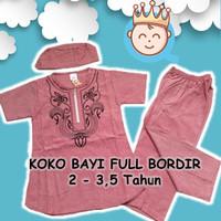 Setelan Baju Koko Anak Full Bordir, Resleting - Nash Size Besar