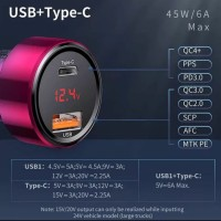 Baseus Car Charger Quick Charge Dual USB Type-C 45W/6A