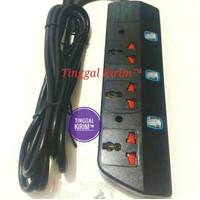 Stop kontak multifungsi 3 lubang dengan saklar lampu ON OFF dan kabel.