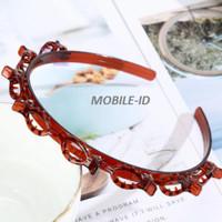 Termurah Korea Bando Jepit rambut fashion Double Layer Bangs Clip Head - Cokelat, Bando thumbnail