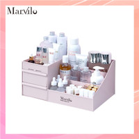 Marvilo Rak Penyimpanan Multifungsi Rak Makeup Organizer - Merah Muda thumbnail