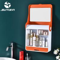 Rak Kosmetik Gantung dengan cermin-9133 Rak Kosmetik Rak Make Up - Orange thumbnail